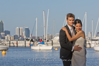 wedding video perth bridal couple recorded by videographer at matilda bay